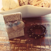 Large Pom Pom Earrings $28Studded Leather Wrap Bracelet $38